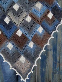 """Winter morning"" (knitted shawl, wrap, knitting lace, wool shawl, modular squares, patchwork)"