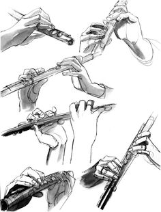 Hands + Flute by incaseyouart on DeviantArt Hand Reference, Anatomy Reference, Art Reference Poses, Music Drawings, Art Drawings, Flute Drawing, Flute Tattoo, Body Drawing Tutorial, Hand Sketch