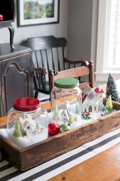 Vintage christmas centerpieces wooden boxes Ideas for 2019 Christmas Snow Globes, Christmas Coffee, Rustic Christmas, Vintage Christmas, Christmas Diy, English Christmas, Christmas Quotes, Christmas Music, Christmas Ornaments