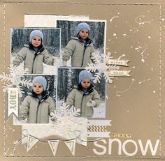 Snow scrapbooking page layout.  Colors are wonderful, maybe add some light blue.