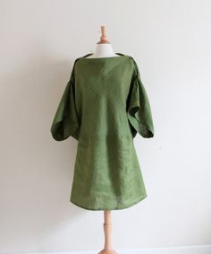 handmade to measure  batwing dolly eco linen dress by annyschooecoclothing,