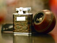 Leather wrapped Ronson Whirlwind lighter and Stanwell Briar Bulldog Pipe.