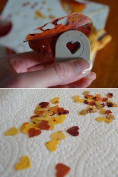 Simple autumn leaf confetti using a shaped hole punch.  #DIY #weddinginspiration #wedding  www.merakievents.co.uk | facebook.com/merakievent | @MerakiEventGuru