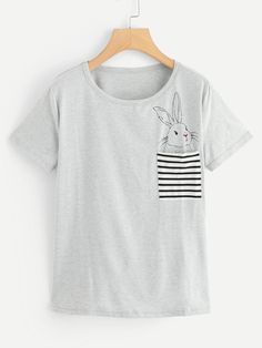 Casual Striped and Animal Regular Fit Round Neck Short Sleeve Pullovers Grey Regular Length Rabbit Print Tee Cute Shirts, Funny Shirts, Shirt Print Design, T Shirts For Women, Clothes For Women, Printed Tees, Diy Clothes, Blouse Designs, Outfits