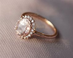 Halo Diamond Oval Morganite Ring 14k Rose Gold by RobMdesign