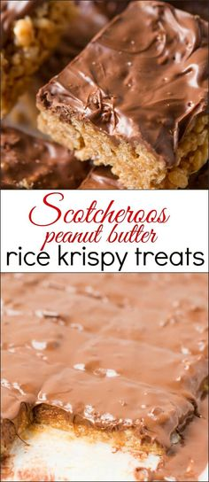 This scotcheroos rice krispy treats recipe is seriously such an addicting treat and it only takes a couple of ingredients to make it! peanut butter rice krispies butterscotch chips chocolate chips via Sweet Basil Peanut Butter Rice Crispies, Chocolate Rice Krispies, Rice Krispie Bars, Chocolate Chips, Chocolate Butter, Chocolate Chocolate, Chocolate Peanuts, Köstliche Desserts, Delicious Desserts