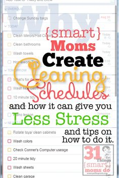 Why should I have a cleaning schedule? Will a weekly cleaning schedule cause more stress? Smart moms know it WON'T cause more stress, it will even take some away! Quickly, clean and get on with life!