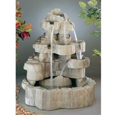 Garden fountains add a distinct element of elegance. Wall fountains are perfect for gardens, patios, or balconies. Indoor and Outdoor garden fountains and decor. Large Outdoor Fountains, Garden Water Fountains, Small Fountains, Stone Fountains, Outdoor Statues, Water Garden, Rock Waterfall, Waterfall Fountain, Tabletop Fountain