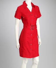 Take a look at this Red Belted Safari Dress by Joy Mark on #zulily today!