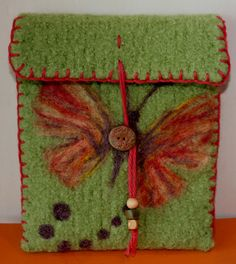 Wool+Felted+Pouch++Butterfly+by+RosySheepBoutique+on+Etsy