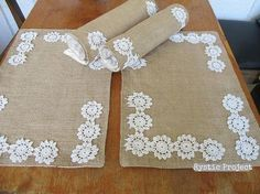 Burlap Placemats Vintage Lace Flowers Shabby Chic by rusticproject, $58.00