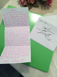 """Open When...you first receive these letters.  I simply included a letter explaining my purpose for making the letters with a """"touch of sweet"""" to melt his heart in the process ;)"""
