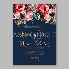 f0292153005 Peony wedding invitation printable template with floral wreath or bouquet  of rose flower and daisy