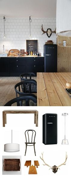 What goes well with a modern, rustic-chic kitchen? A black SMEG fridge, obvs.