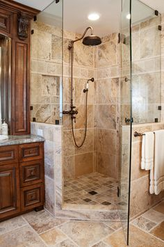 I like the warm cabinet color. There's something about copper that always gives a space so much character. Check out this unique bathroom design featuring the Windham Shower System from Signature Hardware to recreate this serene design. Design Rustique, Master Bathroom Shower, Bathroom Showers, Relaxing Bathroom, Vanity Bathroom, Bathroom Design Luxury, Design Bedroom, Bedroom Decor, Shower Panels