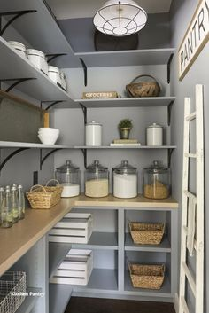 Modern French Country Home - Beautiful Chaos Companies Blue pantry renovation Modern French Country Home - Beautiful Chaos Companies Blue pantry renovation with plenty of storage, wood shelving, and organized glass jars. Kitchen Pantry Design, Kitchen Organization Pantry, New Kitchen, Kitchen Storage, Kitchen Decor, Organization Ideas, Kitchen Ideas, Storage Ideas, Small Kitchen Pantry