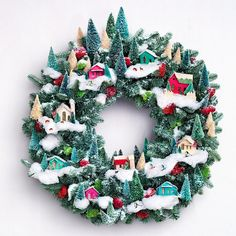 Martha Stewart Christmas Tree Village Wreath love this Want to make Noel Christmas, Winter Christmas, All Things Christmas, Christmas Wreaths, Christmas Decorations, Xmas, Vintage Christmas, Pink Christmas, Martha Stewart Christmas