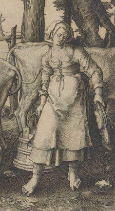 """Lucas van Leyden (Dutch, ca. 1494–1533). Detail of """"The Milkmaid."""" Engraving. Metropolitan Museum of Art, New York."""