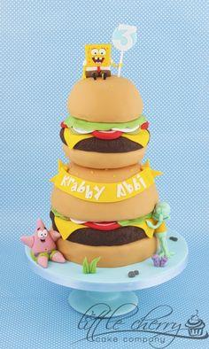 Krabby Patty Tower Spongebob cake
