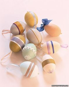 Transform Easter eggs into charming ornaments by embellishing them with ribbon and trimmings.