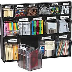 Deflecto® Tilt Bin™ Multipurpose Storage and Organization 5-Bin System ? to Organize in new cabinet for Misc. office supplies?? Pens, paperclips, staples, post its, elastics, highlighters ,etc?
