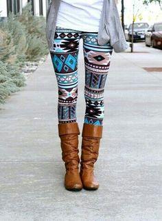 Teal Aztec Leggings - cute way to pair patterned leggings - simple - fabulous-of-looksfabulous-of-looks Aztec Leggings, Patterned Leggings, Print Leggings, Aztec Pants, Funky Leggings, Look Fashion, Teen Fashion, Fashion Outfits, Womens Fashion