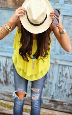 hat + brights + distressed denim