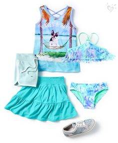 Embellish her blue hues with fun photoreal graphics, pool-perfect tie dye, twirl-ready ruffles and more!