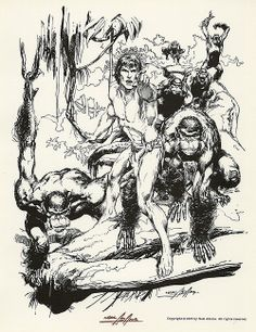 Neal Adams's Tarzan. The thing I like best about his Tarzan is that he always drew the Mangani as something almost human that could never really be confused with any living species of great ape. Comic Book Artists, Comic Book Characters, Comic Books Art, Tarzan Of The Apes, Comic Art Community, Comic Kunst, Bristol Board, Batman, Marvel Comic Universe