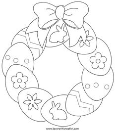 ghirlanda-uova-pasqua2 Easter Coloring Pictures, Free Easter Coloring Pages, Spring Coloring Pages, Coloring Easter Eggs, Coloring Book Pages, Easter Projects, Easter Art, Easter Crafts For Kids, Easter Templates