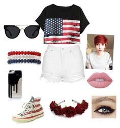 """""""fourth of July summer cookout outfit"""" by aubrey-corbett on Polyvore featuring interior, interiors, interior design, home, home decor, interior decorating, Chicnova Fashion, Topshop, Converse and Kim Rogers"""