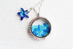 Living Locket Memory Glass Locket Jewelry,Stainless Steel Locket Pendant,Ocean Starfish Locket Necklace,Starfish Nautical Floating Locket