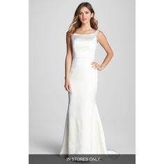Caroline DeVillo 'Lauren' Silk Trumpet Dress ($2,575) ❤ liked on Polyvore featuring dresses, wedding dresses and ivory