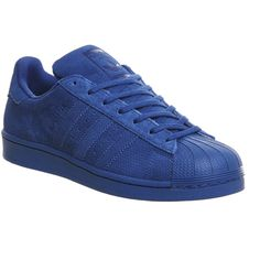 Adidas Superstar 1 ($105) ❤ liked on Polyvore featuring shoes, eqt blue mono, trainers, unisex sports, low tops, adidas, blue shoes, perforated shoes and retro shoes