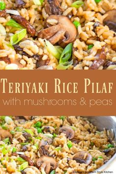 Teriyaki Rice Pilaf With Mushrooms And Peas - I think rice much like potatoes is super versatile. Growing up my Mom made rice in some form weekly. In fact, her chicken and rice casserole remains one o(Vegan Cauliflower Teriyaki) Vegetable Dishes, Vegetable Recipes, Vegetarian Recipes, Cooking Recipes, Skillet Recipes, Rice Side Dishes, Food Dishes, Food Food, Side Dish Recipes