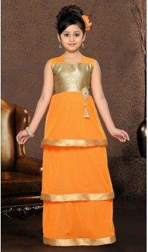 Girl's Orange Color Gowns Dresses