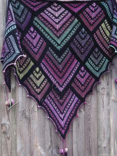 "Knit shawl ""Christmas Eve"" (knitted shawl, wool shawl, modular knitting, knit patchwork, stained-glass shawl, hand knit shawl)"