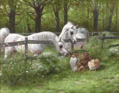 Mary Haggard (c) Back Fence Friends - another amazing painting - Arabian horses and sheltie sheepdog with friends