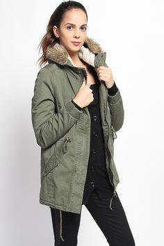 $40.00 - Fur Lined Hooded Parka Utility Jacket