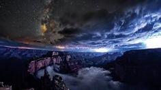 Filmmaker Harun Mehmedinović captures various areas of the Grand Canyon, both during the day and at night, as clouds drift through its mazes.