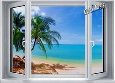 Tropical Beach Window #1 One-Piece Canvas Peel & Stick Wall Mural