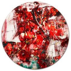 """DesignArt Red Flowers Texture Watercolor Oil Painting Print on Metal Size: 38"""" H x 38"""" W x 1"""" D"""
