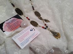 Angel Necklace and Earrings gift set with Rose by WirednStrung