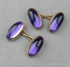 Art Nouveau 14kt Gold and Rock Crystal Cuff Links