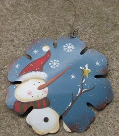 "40007B-Snowman Ornament Blue Metal   6"" Metal Snowman Ornament     $ 2.25"