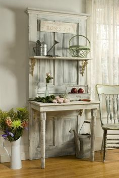Upcycled door potting bench