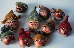 Cute little nut people heads made ​​by Maluba with painted nuts and crocheted hats!  It would be nice if they had bodies too... A simple idea and fun to do with the little ones and perfect activity for a Sunday afternoon!