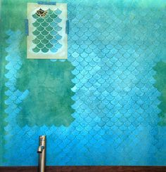 Troweled cement walls, Rit dye stain and a fish scale stencil to achieve this wall. So beautiful. Mermaid Bedroom, Mermaid Nursery, Cement Walls, Modern Masters, Big Girl Rooms, Wall Treatments, My New Room, Wallpaper, Stencils