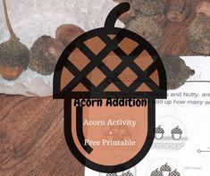Acorn Addition Teaching Calendar, Thanksgiving Stories, Acorn And Oak, Early Math, Teaching Kindergarten, Hands On Activities, Free Printables, Art Projects, Fall