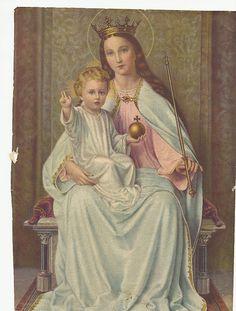 María e Hijo con la bola del mundo.